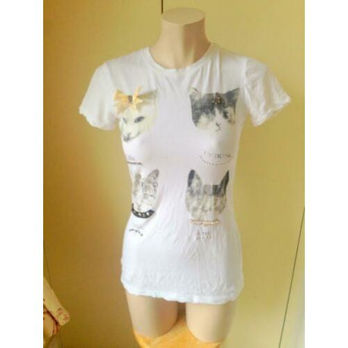 kat top parels wit schattig lolita strik cat neko M 38 40