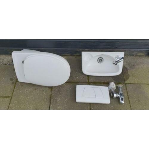 Sphinx wc toilet pot + wastafeltje sifon + drukknop geberit